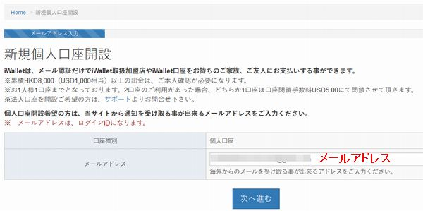iwallet_登録メールアドレス入力
